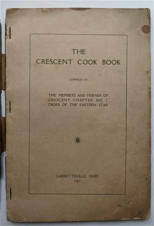 1911 RECIPE COOK BOOK CRESCENT CHAPTER ORDER of EASTERN
