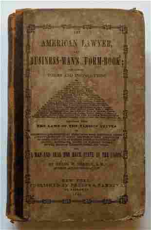 1851 AMERICAN LAWYER & BUSINESS MAN BOOK w MAP s & LAW