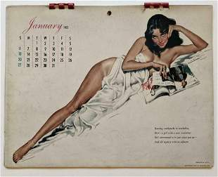 VINTAGE 1952 PIN UP MODEL CALENDAR by ESQUIRE w