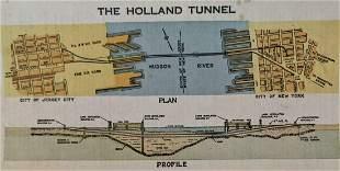 SCARCE 1928 HOLLAND TUNNEL New York City ILLUSTRATED