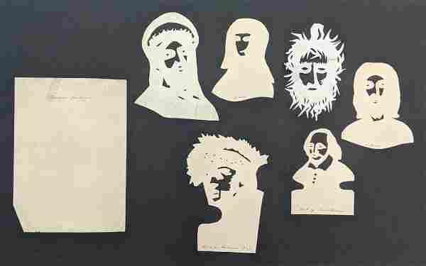 LOT 6, ca.1880s ANTIQUE FIGURAL HAND CUT PAPER CUT-OUTs