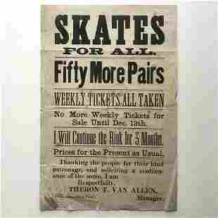 CIRCA 1910 HANDBILL FOR PANA, IL SKATING RINK, SKATES