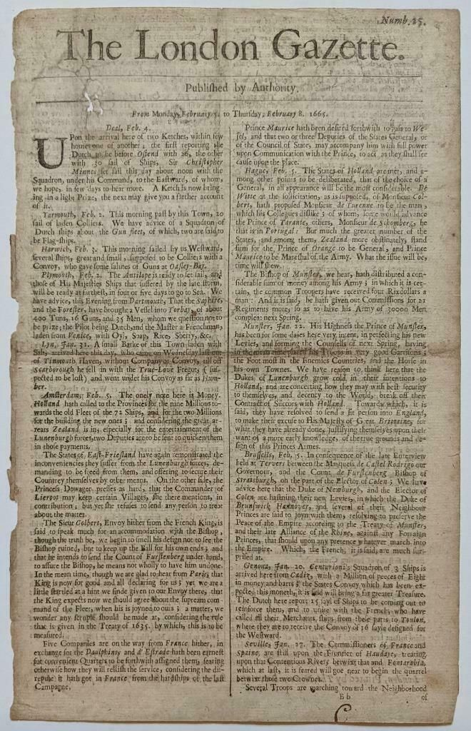 EARLY 1665 LONDON GAZETTE NEWSPAPER REFERs to FORT in