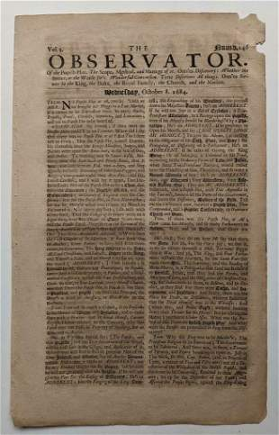 1684 EARLY ANTIQUE NEWSPAPER THE OBSERVATOR, LONDON,