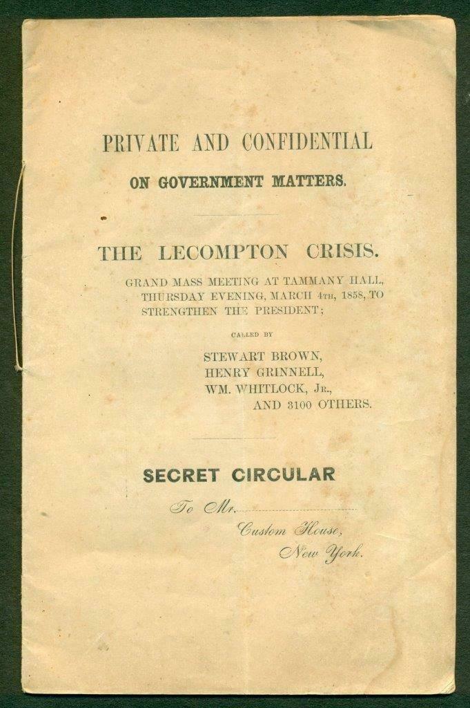 ca. 1858 PRE CIVIL WAR SECRET CIRCULAR on LECOMPTON