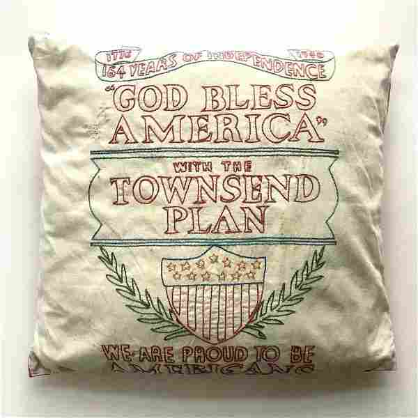 1940 PATRIOTIC HAND STITCHED PILLOW CASE, OLD AGE