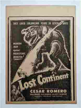 VINTAGE 1951 MOVIE FILM ADVERTISMENT POSTER LOST