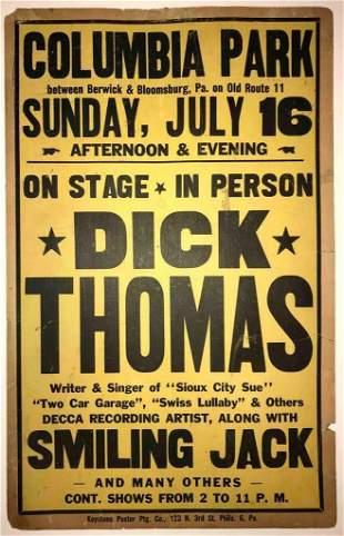 c1945 HILLBILLY COWBOY MUSIC POSTER, DICK THOMAS,