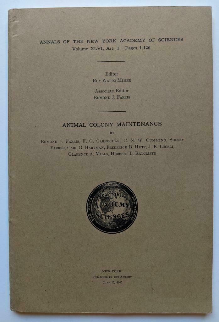 1945 NEW YORK ACADEMY of SCIENCES, ANIMAL COLONY