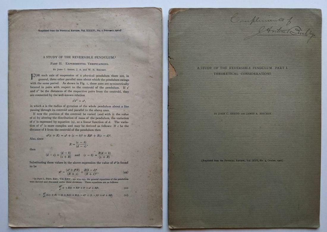 VOL 1 & 2 1912 STUDY OF REVERSIBLE PENDULUM, J SHEDD &