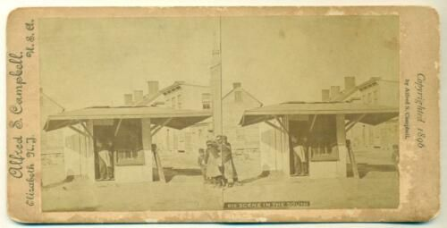AFRICAN AMERICAN BLACK CHILDREN AT SMALL SHOP BUILDING,