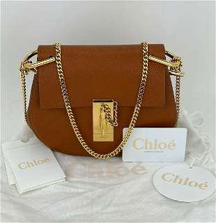 Chloe Mini Drew Caramel Tan Grained lambskin Shoulder