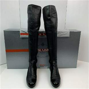 PRADA Calzature Donna Nappa Stretch Knee High BOOTS 7US