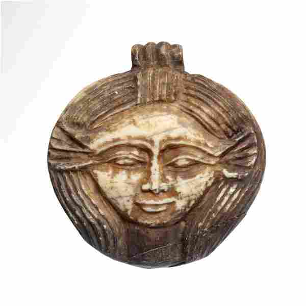 Egyptian Bone Pendant, Hathor Head, Ptolemaic Period,