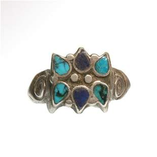 Medieval Silver Ring, Rosette set with Turquoise and