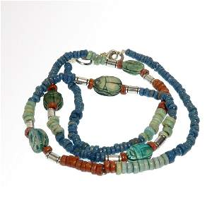 Egyptian Faience Necklace with 5 Scarabs, c. 300 B.C.