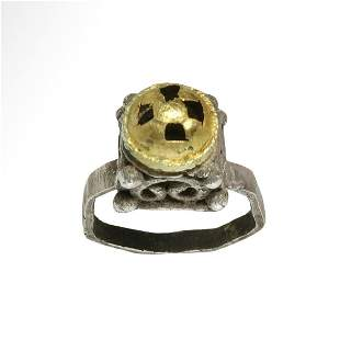 Byzantine Gold and Silver Ring, Dome with Cross, c. 7th