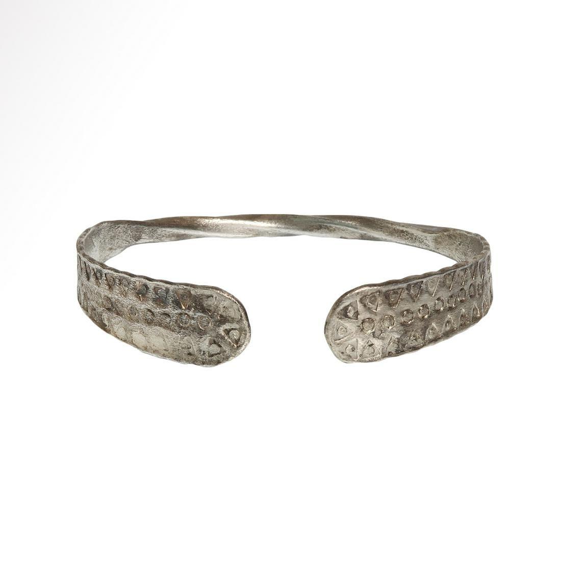 Viking Silver Bracelet, Norse Style