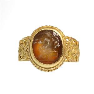 Roman Gold Filigree Ring, Cornelian Intaglio, Seated