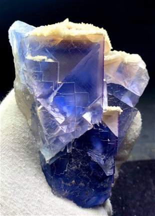 Natural Phantoms Fluorite Crystal with Calcite Mineral