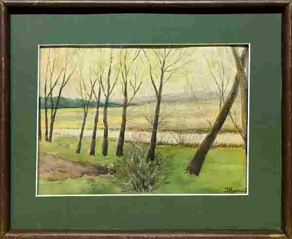 Watercolor painting Beginning of autumn Tsyupka Ivan