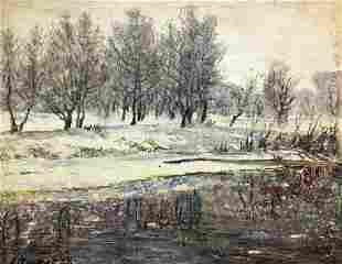 Pencil painting Winter landscape Alexander Georgievich