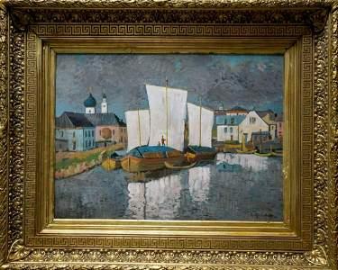 Oil painting Ships in port Gorbatov K.I.
