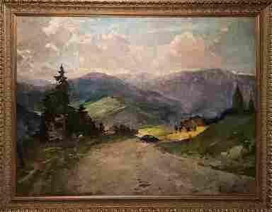 Oil painting Road to the mountains Kholomenyuk Ivan