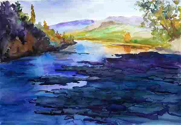 Watercolor painting Mountain river Serdyuk Boris