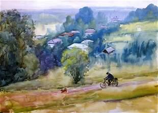 Watercolor painting Rain falls Serdyuk Boris Petrovich