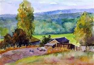 Watercolor painting Harvesting Serdyuk Boris Petrovich