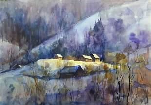 Watercolor painting Winter extravaganza Serdyuk Boris