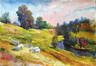 Watercolor painting Goats Serdyuk Boris Petrovich