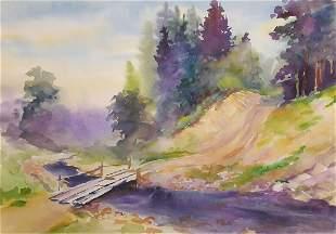 Watercolor painting Bridge Serdyuk Boris Petrovich