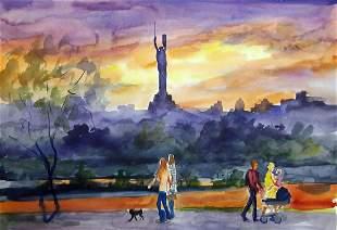 Watercolor painting Walk Serdyuk Boris Petrovich