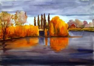 Watercolor painting River surface Serdyuk Boris