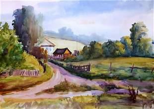 Watercolor painting Dawn Serdyuk Boris Petrovich