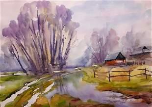 Watercolor painting The snow is melting Serdyuk Boris