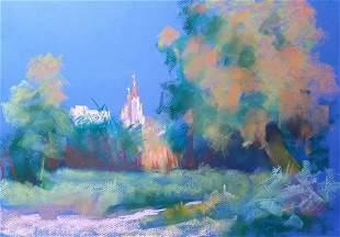 Pastel painting Dinner. Temple Serdyuk Boris Petrovich