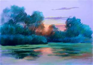 Pastel painting Sunset Serdyuk Boris Petrovich