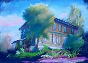 Pastel painting N. Siversky. Wooden house Serdyuk Boris