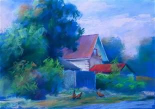 Pastel painting Red roofs Serdyuk Boris Petrovich