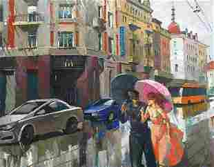 Oil painting Rain in Gliwice Egor Ktpatunov
