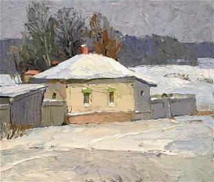 Oil painting Winter sketch Egor Ktpatunov