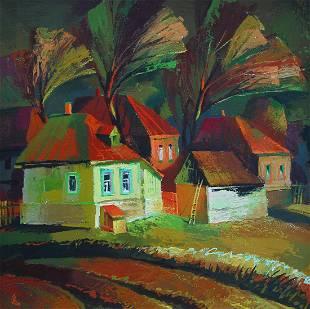 Oil painting Landscape with houses Egor Ktpatunov