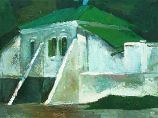 Oil painting Buttress House Egor Ktpatunov