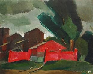 Oil painting Landscape with a red fence Egor Ktpatunov