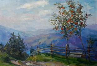 Oil painting Apple tree blossoms Kovalenko Ivan