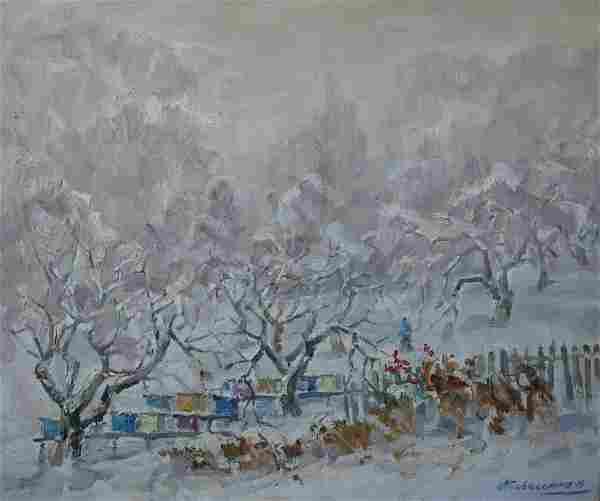Oil painting Winter landscape Kovalenko Ivan