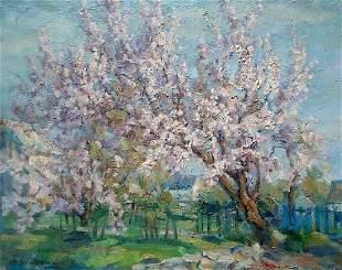 Oil painting Apricot blossoms Kovalenko Ivan
